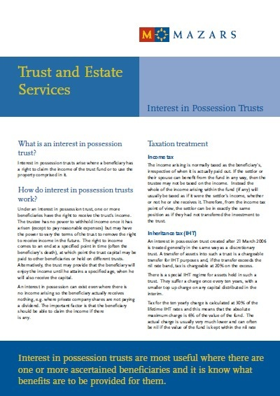Possession Trust flyer - Interest in possession trusts (English